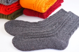 冷え性さんにおすすめ!ティアラアンゴラウール靴下(グレー)